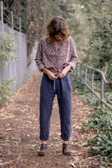 Japanese Linen Wool Track Pants - Blue