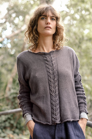 Helen Hand Knit Cable Jumper Italian Linen - Charcoal