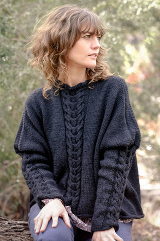 Helen Hand Knit Cable Jumper Australian Merino Wool - Black