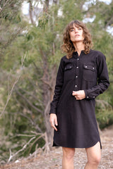 Iggy Shirt Dress Italian Wool - Chocolate