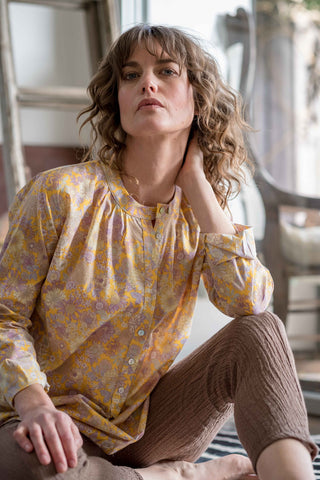 Bay blouse Yellow / mauve floral