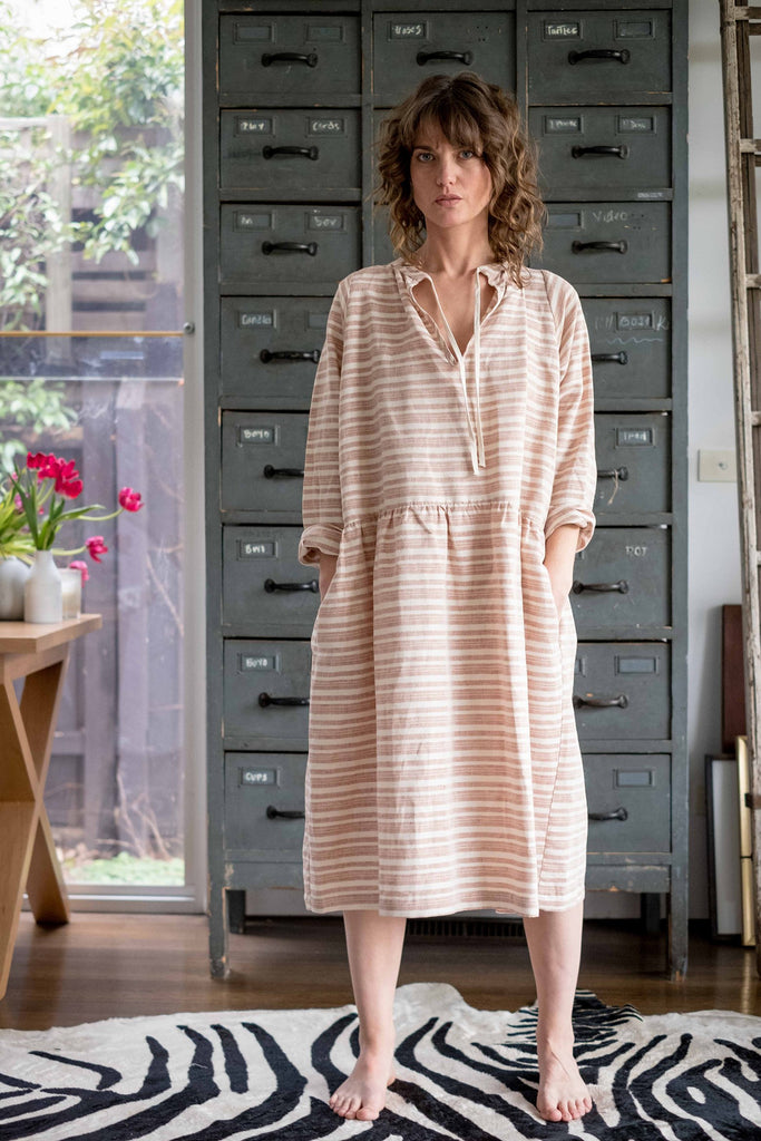 Dhasha dress Burnt orange / natural stripe