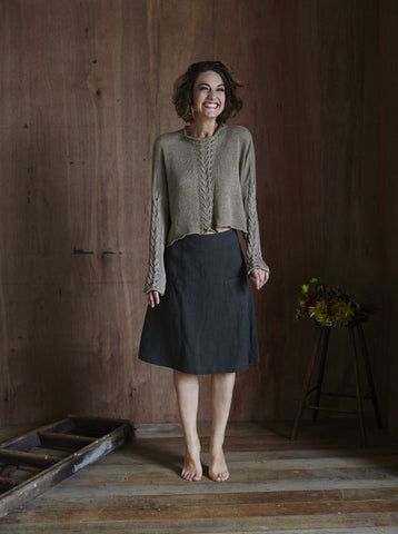 Helen Hand-knitted Linen Cable Jumper