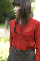 Red Cotton Crepe Shirt