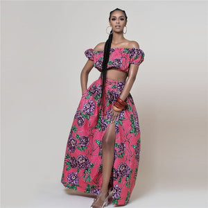 African Print Floral Bohemian Two-Piece