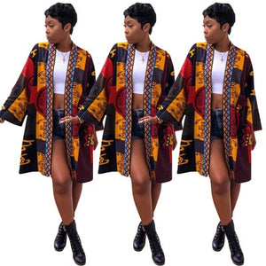 African Totem Print Long-sleeved Jacket