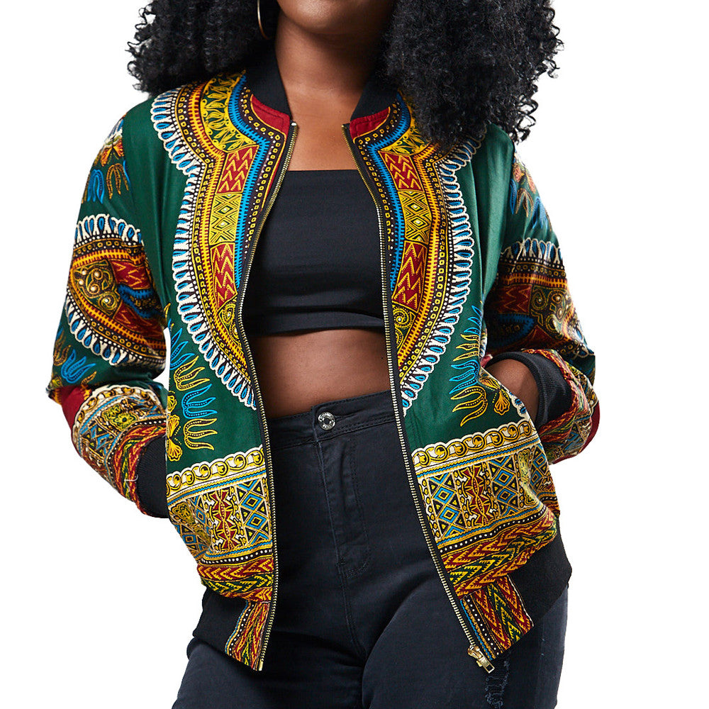 Dashiki Print Long Sleeve Jacket