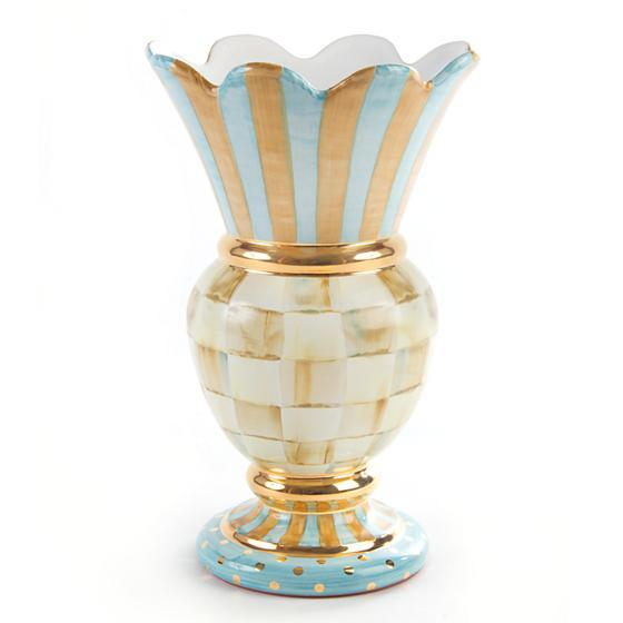 Mac Kenzie-Childs Parchment Check Great Vase. Pre order now, with ETA early 2021 home accessories Mackenzie Childs