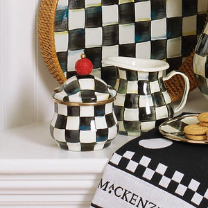 MacKenzie-Childs Courtly Check Enamel Lidded Sugar Bowl Tableware Mackenzie Childs