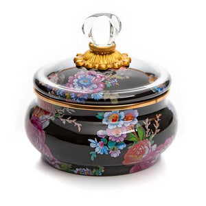 MacKenzie-Childs Flower Market Squashed Pot - Black
