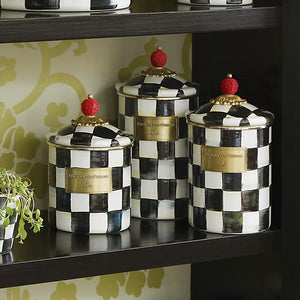 MacKenzie-Childs Courtly Check Enamel Canister - Small Kitchen Mackenzie Childs