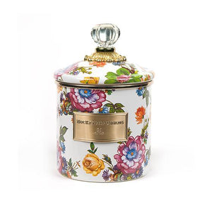 MacKenzie-Childs Flower Market Small Canister - White Kitchen Mackenzie Childs