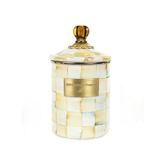 MacKenzie-Childs Parchment Check Enamel Canister - Medium Kitchen Mackenzie Childs