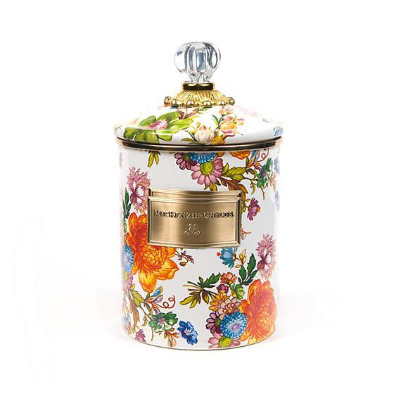 MacKenzie-Childs Flower Market Medium Canister - White Kitchen Mackenzie Childs