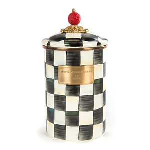 MacKenzie-Childs Courtly Check Enamel Canister - Large Kitchen Mackenzie Childs