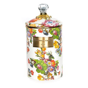 MacKenzie-Childs Flower Market Large Canister - White Kitchen Mackenzie Childs