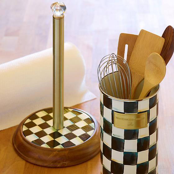 MacKenzie-Childs Courtly Check Wood Paper Towel Holder