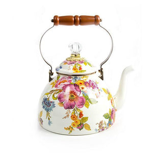 MacKenzie-Childs Flower Market 3 Quart Tea Kettle - White