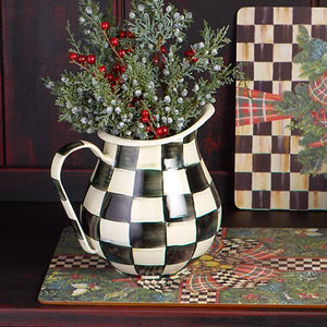 MacKenzie-Childs Courtly Check Enamel Pitcher Kitchen Mackenzie Childs