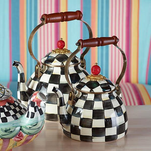 MacKenzie-Childs Courtly Check Enamel Tea Kettle - 2 Quart Kitchen Mackenzie Childs