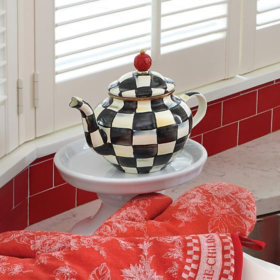 MacKenzie-Childs Courtly Check Enamel Teapot - 4 Cup Tableware thinkpositivefashioncafe.com