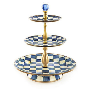 Royal Check Enamel Three Tier Sweet Stand Tableware Mackenzie Childs