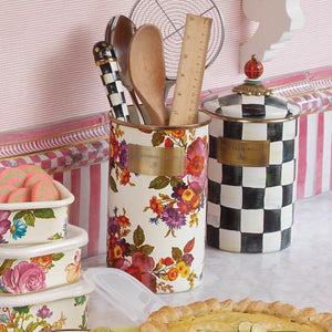MacKenzie-Childs Flower Market Utensil Holder - White Kitchen Mackenzie Childs