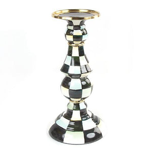 MacKenzie-Childs Courtly Check Enamel Pillar Candlestick - Large