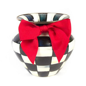 MacKenzie-Childs Courtly Check Enamel Large Vase - Red Bow. home accessories Mackenzie Childs