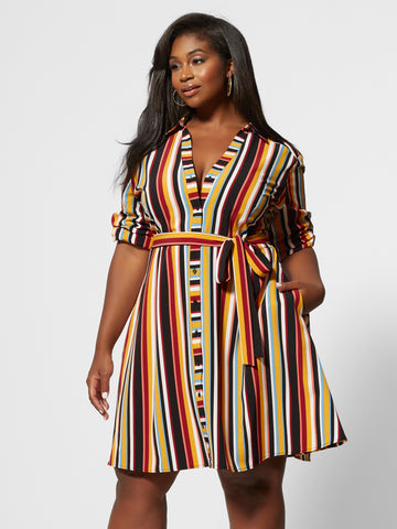 Dinah Striped Shirt Dress in Dark Red
