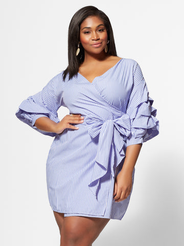 Hollyn Puff-Sleeve Wrap Dress in Blue