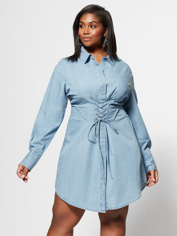 Denim Girl Boss Corset Shirt Dress in Light Wash
