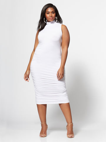 Sienna Ruched Midi Dress in White
