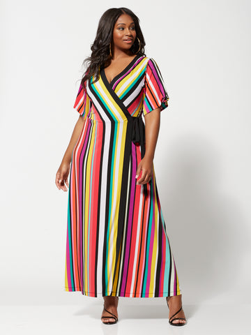 Faylinn Stripe Wrap Maxi Dress in Black
