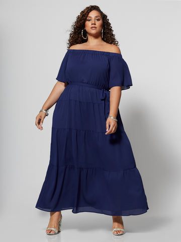 Kaitlyn Off Shoulder Maxi Dress in Amplified Blue