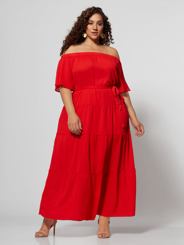 Kaitlyn Off Shoulder Maxi Dress in Bell Pepper Red