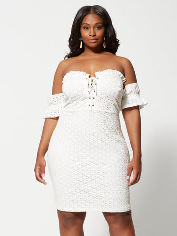 Elinore Lace-Up Eyelet Bodycon Dress in White