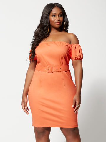 Elli Off Shoulder Belted Bodycon Dress in Coral