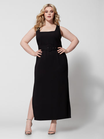 Carlotta Belted Maxi Dress in Black