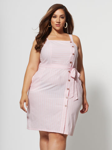 Anaya Tie-Waist Button Dress in Light Pink