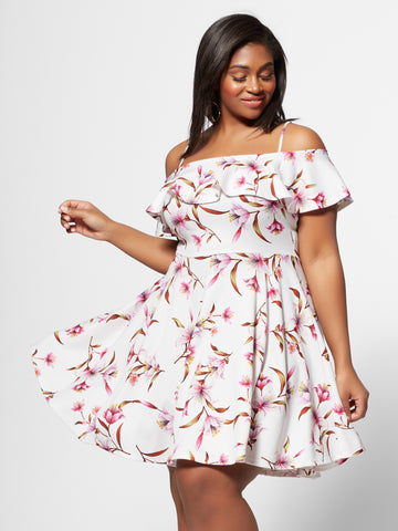 Isadora Ruffle Flare Dress in White
