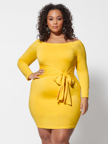 Rebekka Off Shoulder Tie-Waist Dress in Medium Yellow