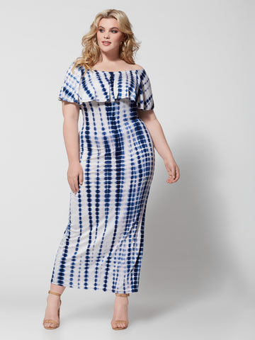 Esme Off Shoulder Tie Dye Maxi Dress in Navy