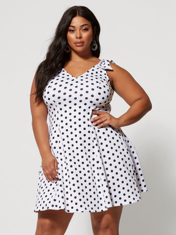 Sandi Polka-Dot Flare Dress in White