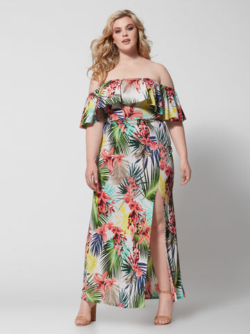 Darcy Off Shoulder Tropical Maxi Dress in White
