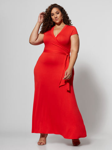 Idalia Wrap Maxi Dress in Bell Pepper Red