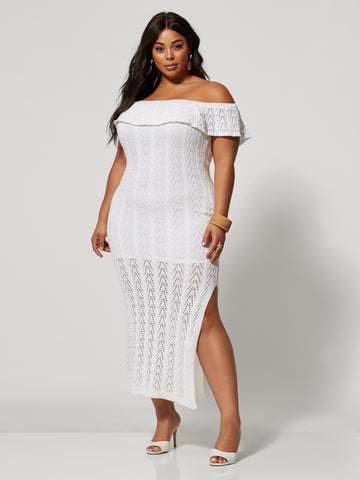 Kylee Off Shoulder Crochet Dress in White