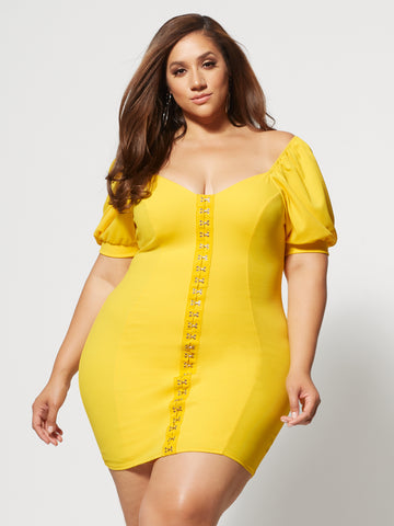 Malva Hook Detail Bodycon Dress in Yellow