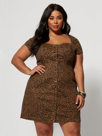 Sierra Animal Print Denim Dress in Brown