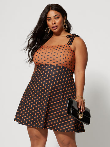Alicia Polka-Dot Flare Dress in Brown